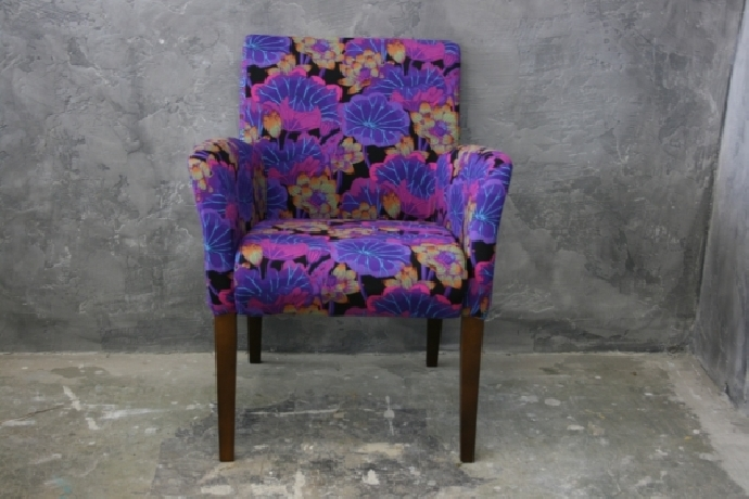 Purple chair form two fabrics