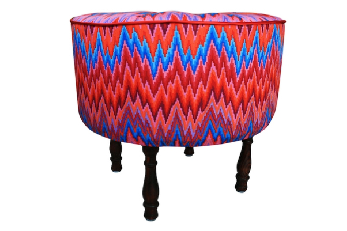 Red patterned bench