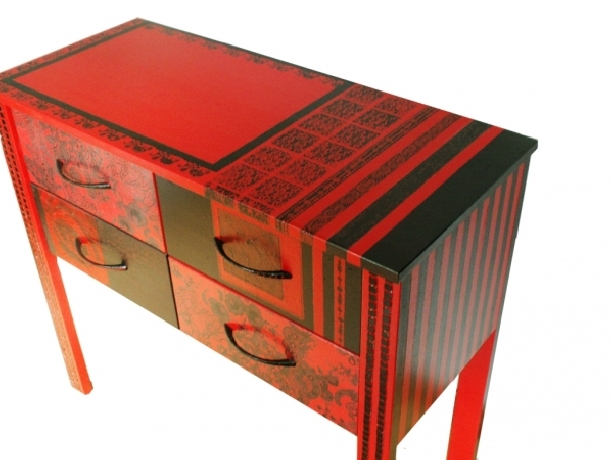 Red and black dresser