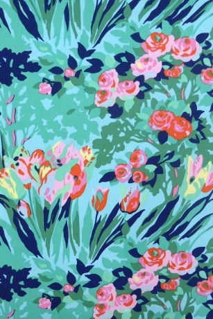 Blue fabric with flowers