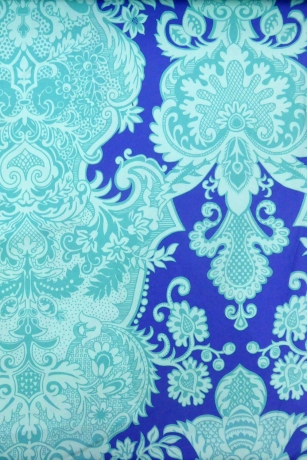 Blue fabric with baroque pattern