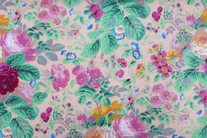 Pink hue beige fabric with flowers