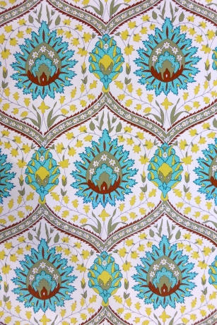 Bright fabric with green brown pattern