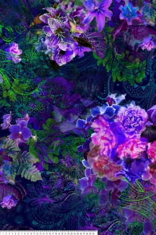 Jersey fabric with purple flowers