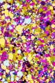 Fabric with yellow purple dots