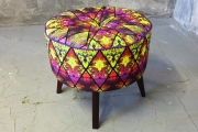 Bench with yellow violet print