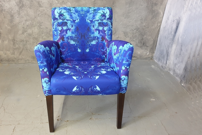 Blue chair with abstract print