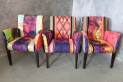 Chair with abstract print fabric composition
