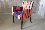 Chair with purple and yellow shade print